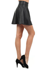 Mini skirt skater skirt faux leather casual polyester party skirt solid black
