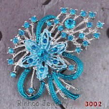 Rhinestone crystal Wedding silver Enamel flower floral brooch pins jewelry Gift
