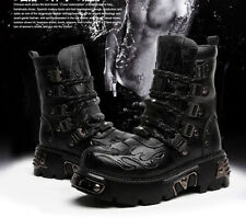 Hot! Leather Punk Rock MENS BLACK & BROWN GOTH PUNK ROCK BAND BUCKLE BOOTS