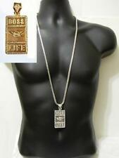 Hip Hop Fire Money Silver Tone Crystal Iced Out Dollar Bill Chain Necklace