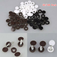 50/100pcs Hinged Plastic Screw Cover Fold Snap Caps For Car Home Furniture Decor