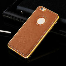 Luxury GENUINE Leather Aluminum Bumper Back Case For Apple iPhone 5/5S/6/6 Plus