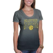 '47 Brand Pittsburgh Steelers Women's Dipped T-Shirt - Charcoal - NFL