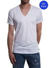 Diesel 2 Pack Men's T-Shirt Deep V Neck The Essential Dave Cotton - White