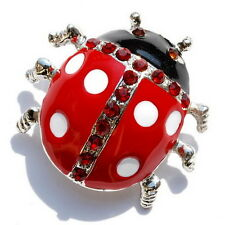 Fashion Lovely Crystal Rhinestone Enamel Insects Brooches Pins Ladybird Jewelrys