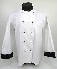 Swanstons White Whites 100% Cotton Chef Chefs Coat Jacket Black Cuffs (JBC4) C2