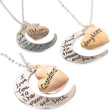 Mother's Day Gift Moon and Heart Lettering Necklace for Grandma MOM Daughter