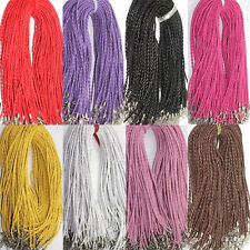 Hotselling 10Pcs  Leather Braid Rope Hemp Cord Lobster Clasp Chain Necklace 46cm