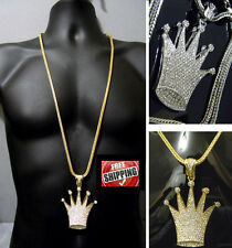 Gold Tone Crown King Royalty Iced Out Hip Hop Crystal Pendant Franco Chain 36""