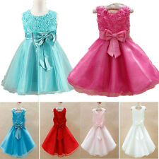Flower Girls Princess Bow Dress Toddler Baby Wedding Party Pageant Tulle Dresses