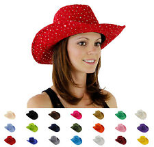 Glitter Sequin Trim Polyester Cowboy Hat for Ladies