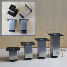 4 pc furniture cabinet square metal legs adjustable kitchen feet stainless steel