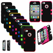 Hybrid Tuff Hard Rugged Silicone Shockproof Cover Case For iPhone 4 4S + Film