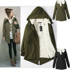 New Womens Hooded Parka Fleece Tops Winter Warm Long Hood Jacket Coat Size S-XXL