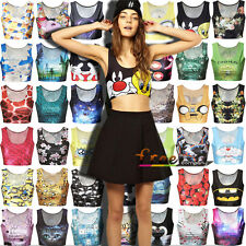 Women Cartoon Midriff Crop Top Singlet Racerback Vest Tank Top T-Shirt Beachwear