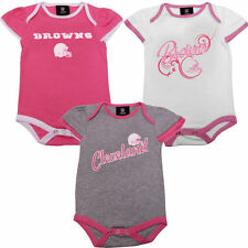 Girls Infant Cleveland Browns Historic Logo Pink 3-Piece Creeper Set