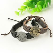 Vintage Tai Chi Yin Yang Wrap Leather Bracelet Infinity Charm Woman Man Jewelry