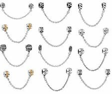 925 Sterling Silver European Safety Chain Charms Bead For Snake Bracelet Chain
