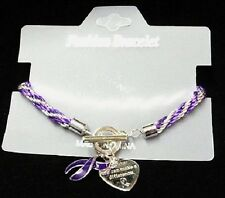 Purple Awareness Ribbon Braided Bracelet Engraved Charm Many Cancer Causes New