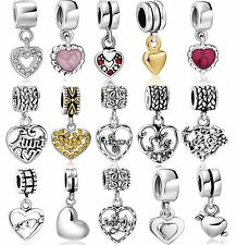 925 Silver Pendant Heart Charm Popular fit 2016 New European Bead Women Bracelet