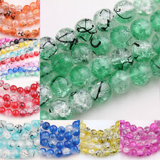 25/50Pcs Czech Glass Loose Spacer Round Beads 8mm Hot Crackle Floral Craft Beads