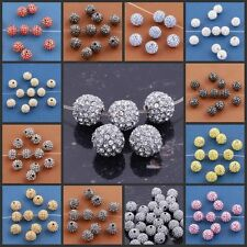 20Pcs Czech Rhinestones Pave Clay Round Disco Ball Spacer Beads Jewelry DIY 7mm