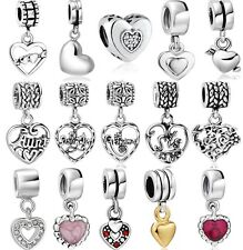 Hot Love Heart silver charm bead fits 925 sterling Snake european bracelet Chain