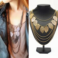 Womens Multilayer Hollow out Leaves Pendant Long Sweater Chain Jewelry Necklace