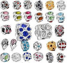Bling Genuine Colorful Crystals Rhinestones Bead Fit 925 Silver Charms Bracelets