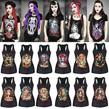Rock Band Vest Tank Top Womens Gothic Print Singlet T-shirt STRETCH Tee Camisole