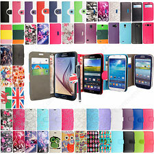 Leather Wallet Flip Case Cover For Samsung Galaxy S2 S3 S4 S5 S6 Mini+Stylus Pen