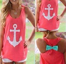 Sexy Women Summer Casual Sleeveless Bowknot Shirt Loose Vest Tank Top Blouse