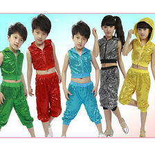 Bright Girls Boys Modern Jazz Hip Hop Dance Costumes Kids Dancewear Top&Pant