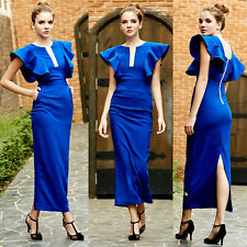 High-End Women Dress Cap Sleeve falbala grenadine formal dress Empir Wasist S-L