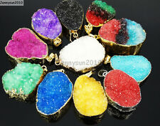 Natural Druzy Quartz Agate Nugget Pendant Charm Beads 18K Silver Gold Necklace