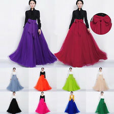 Women Girl Gauze Pleated Multi-layer Long Dress Maxi Skirt Chiffon Bowknot Waist
