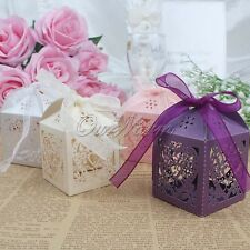 New Heart Laser Cut Gift Candy Favor Boxes With Ribbon Wedding Party Table Decor