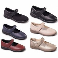 Padders SPRITE Womens Ladies Extra/Super Wide Velcro Health Flat Mary Jane Shoes