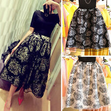 Women Lace Double Layer Pleated Retro Party Dress Long Elastic Waist Skirt