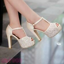New Womens Glitter Peep Toe T Style Strap Platform High Heels Wedding Shoes