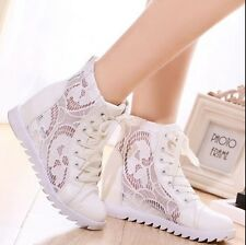 Top Womens Fashion Wedge Heel Lace Up Mesh Summer Sneakers Trainer Boots Shoes