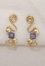 Ear Sweeps Pins Vines Earrings Gold or Silver with Swarovski Crystals #241