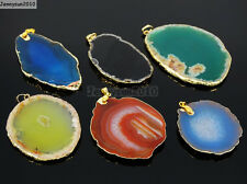 Natural Druzy Quartz Agate Gemstone Sliced Pendant Charm Bead Necklace 18K Gold