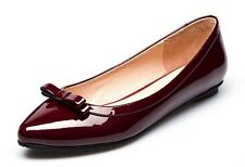 4 Color US Size 5-9 Bow Comfy Patent Leather Womens Ballet Flats Loafer Shoes