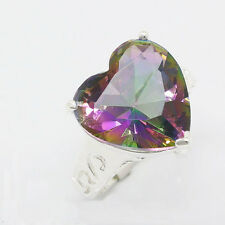 Huge 49 Ct Natural Genuine Rainbow Mystic Fire Topaz Gems Silver Ring Sz 7 8 9