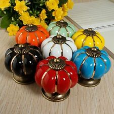 Pumpkins Countryside Knobs Ceramic Door Cabinet Cupboard Handles Pull Drawer NEW
