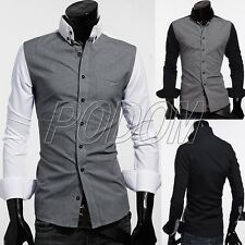 PODOM New Stylish Men's Slim Fit Long Sleeve Casual Formal Suit Dress Shirt Tops