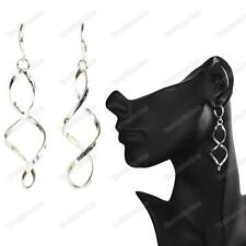 CLIP ON pierce look TWIST DROP EARRINGS silver fashion ELEGANT SPIRAL mini hoops