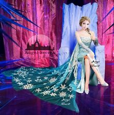PJ888 Movies Frozen Snow Queen Elsa Cosplay Costume top palace dress tailor made
