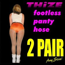 2 pair - Footless Panty Hose - Sheers Solids Athletic Hooters, Cheerleader Style